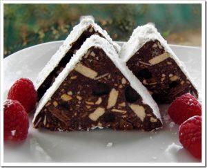 Salame cioccolato a forma triangolare